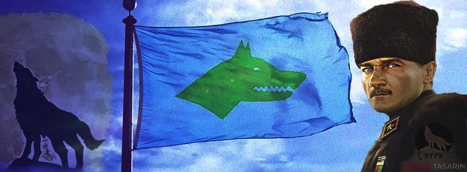 göktürk bayrağı ve atatürk, kurt